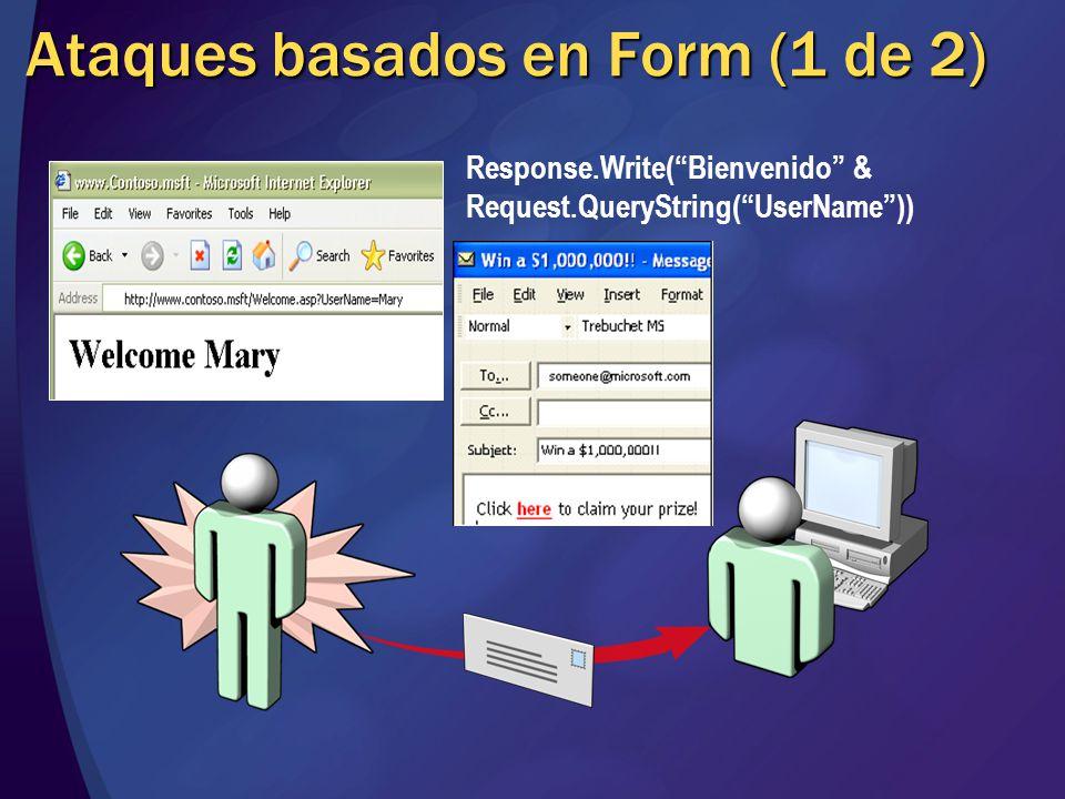 Ataques basados en Form (1 de 2) Response.Write(Bienvenido & Request.QueryString(UserName))
