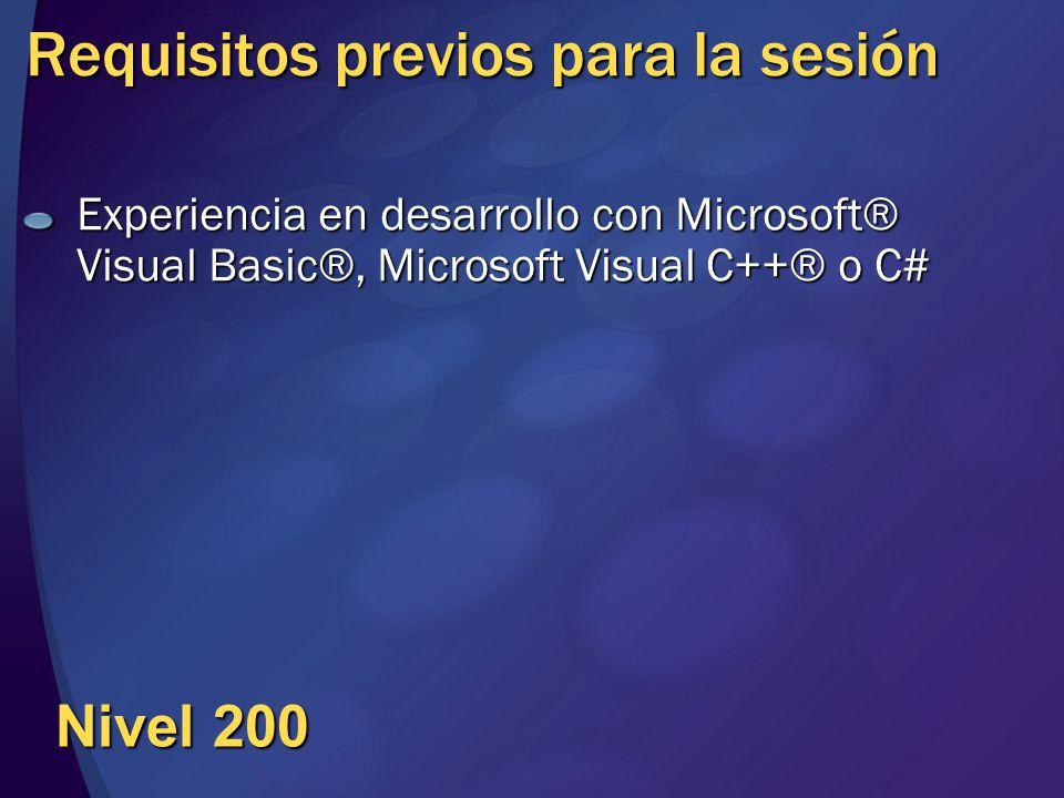 Requisitos previos para la sesión Experiencia en desarrollo con Microsoft® Visual Basic®, Microsoft Visual C++® o C# Nivel 200