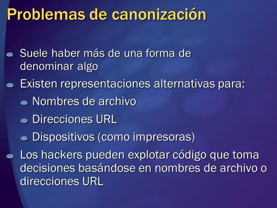 Problemas de canonización Suele haber más de una forma de denominar algo Existen representaciones alternativas para: Nombres de archivo Direcciones URL Dispositivos (como impresoras) Los hackers pueden explotar código que toma decisiones basándose en nombres de archivo o direcciones URL