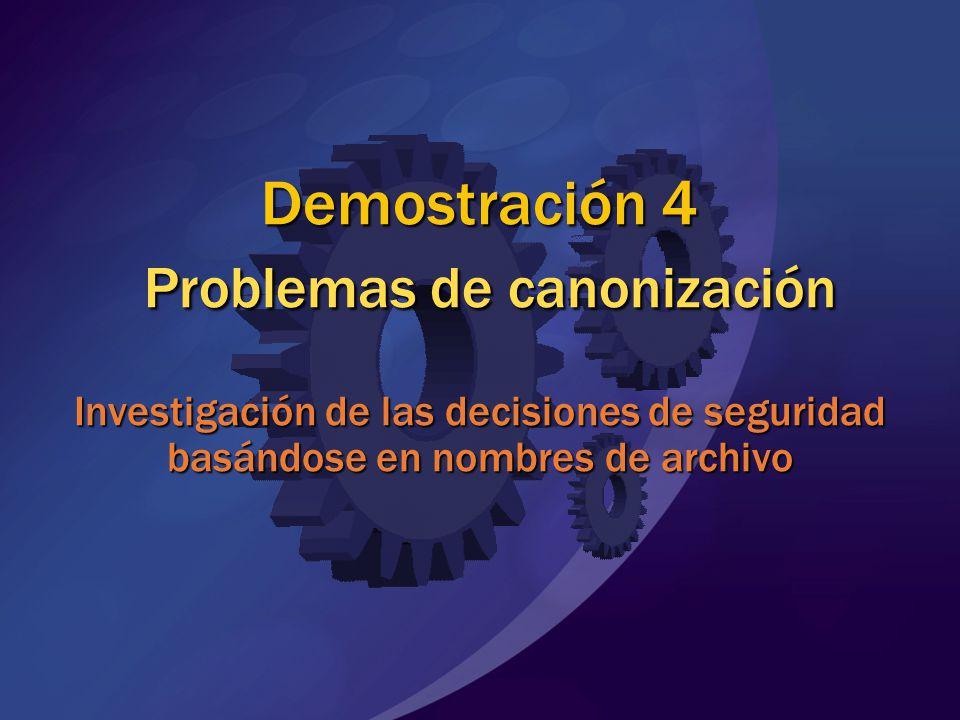 Demostración 4 Problemas de canonización Investigación de las decisiones de seguridad basándose en nombres de archivo