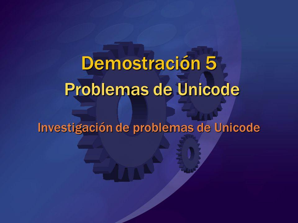 Demostración 5 Problemas de Unicode Investigación de problemas de Unicode