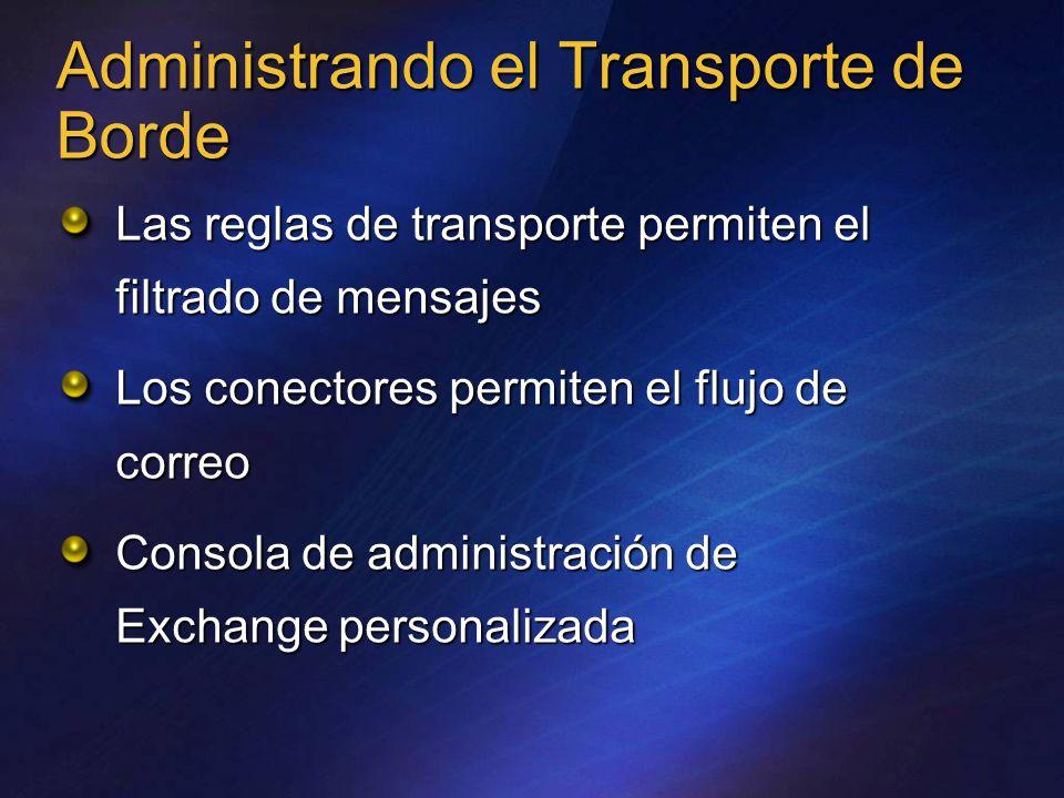 Administrando el Transporte de Borde Las reglas de transporte permiten el filtrado de mensajes Los conectores permiten el flujo de correo Consola de administración de Exchange personalizada