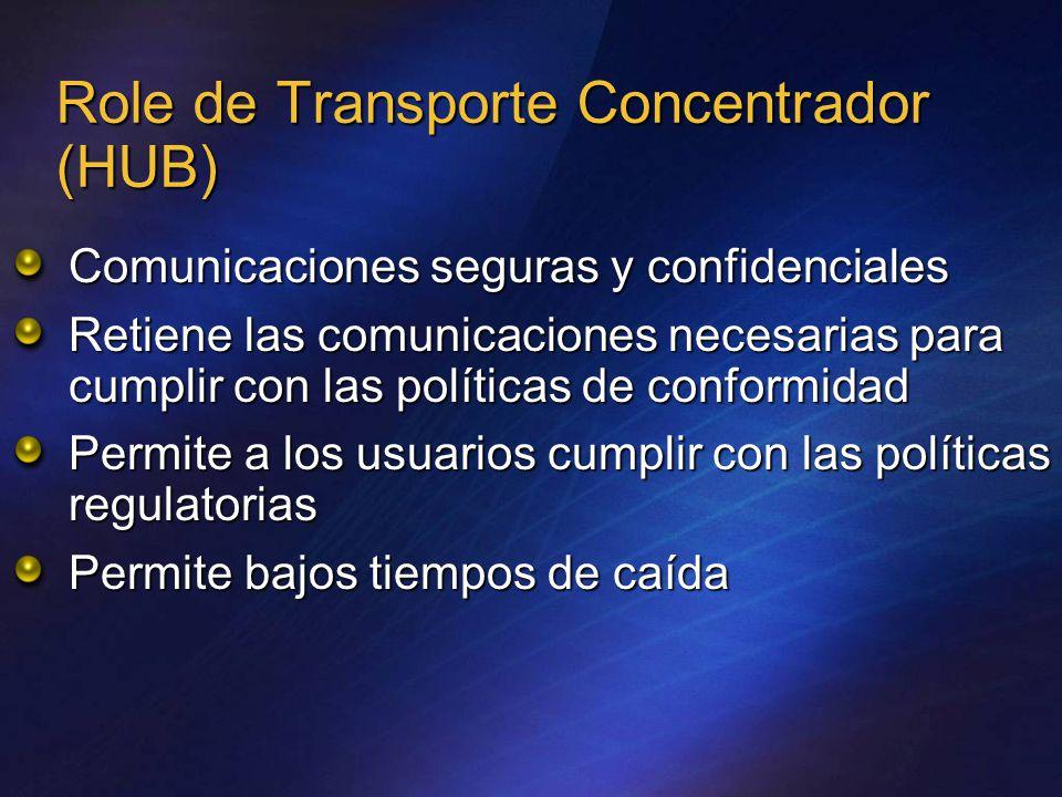 Role de Transporte Concentrador (HUB) Comunicaciones seguras y confidenciales Retiene las comunicaciones necesarias para cumplir con las políticas de conformidad Permite a los usuarios cumplir con las políticas regulatorias Permite bajos tiempos de caída