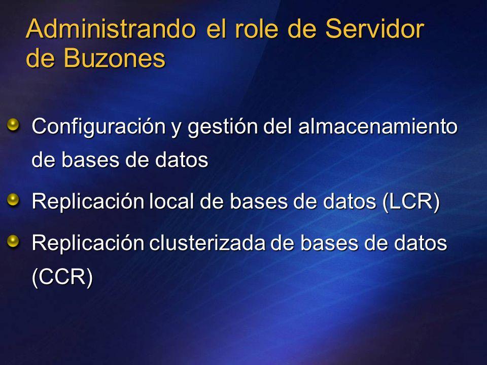 Administrando el role de Servidor de Buzones Configuración y gestión del almacenamiento de bases de datos Replicación local de bases de datos (LCR) Replicación clusterizada de bases de datos (CCR)