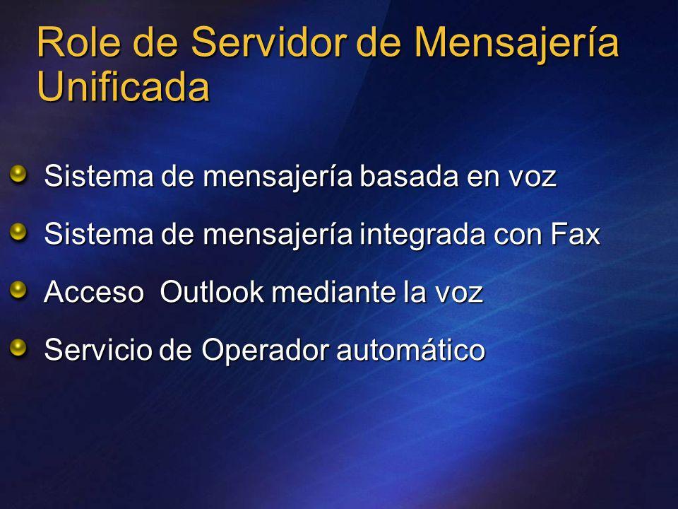 Role de Servidor de Mensajería Unificada Sistema de mensajería basada en voz Sistema de mensajería integrada con Fax Acceso Outlook mediante la voz Servicio de Operador automático