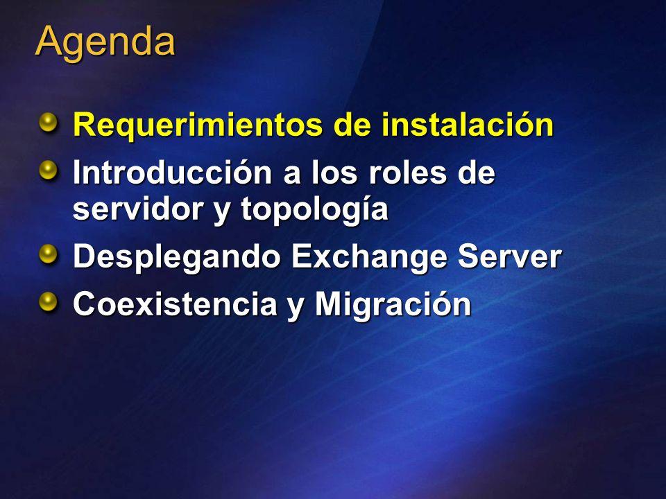 Requerimientos de instalación Introducción a los roles de servidor y topología Desplegando Exchange Server Coexistencia y Migración Agenda