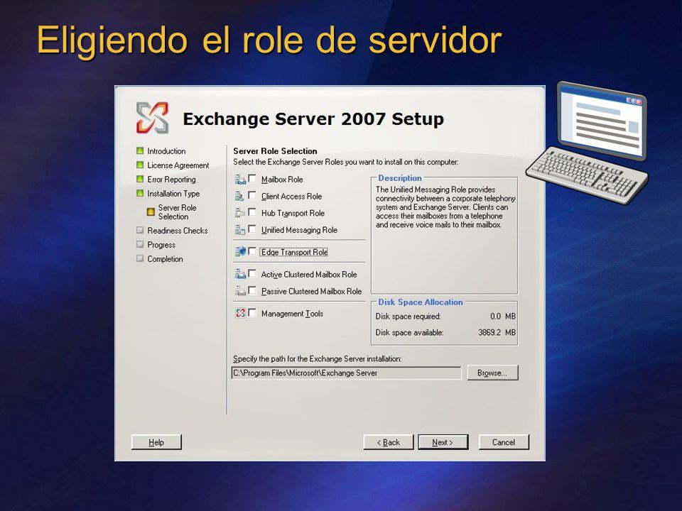Eligiendo el role de servidor