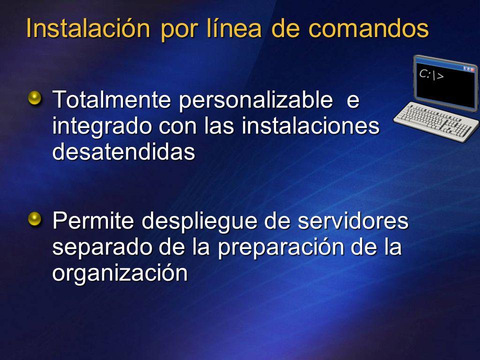 Instalación por línea de comandos Totalmente personalizable e integrado con las instalaciones desatendidas Permite despliegue de servidores separado de la preparación de la organización
