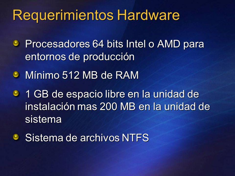 Requerimientos Hardware Procesadores 64 bits Intel o AMD para entornos de producción Mínimo 512 MB de RAM 1 GB de espacio libre en la unidad de instalación mas 200 MB en la unidad de sistema Sistema de archivos NTFS