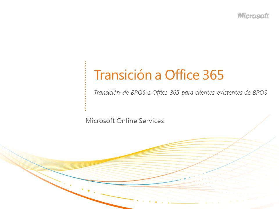 Transición a Office 365 Microsoft Online Services Transición de BPOS a Office 365 para clientes existentes de BPOS