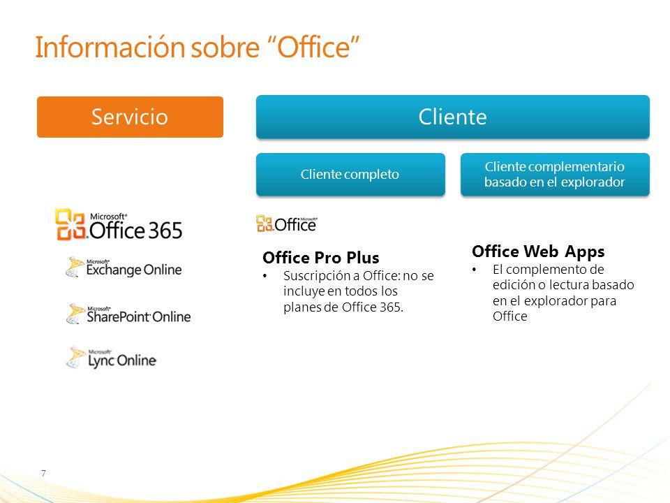 Información sobre Office 7 ServicioCliente Cliente completo Cliente complementario basado en el explorador Office Web Apps El complemento de edición o