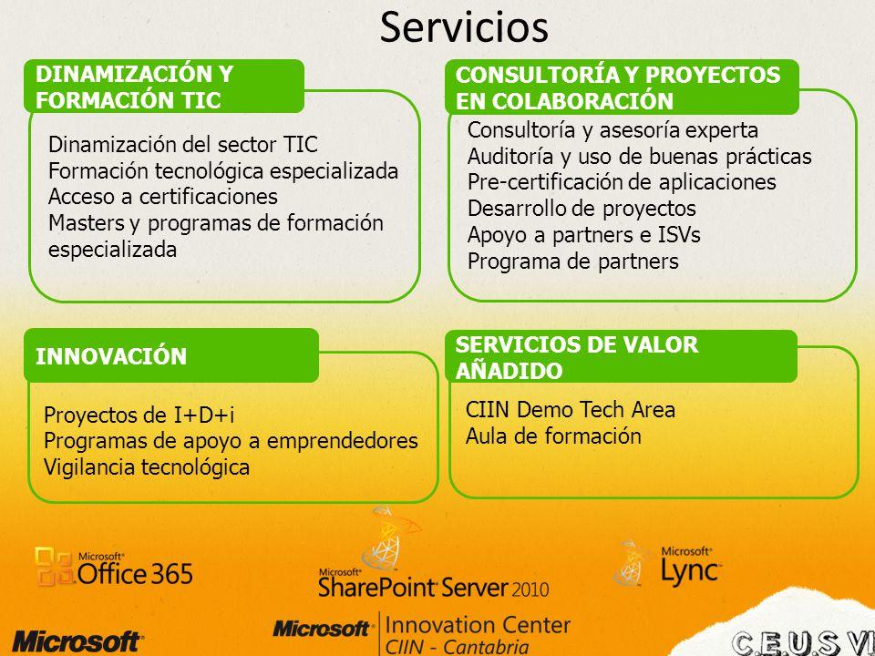 Servicios Dinamización del sector TIC Formación tecnológica especializada Acceso a certificaciones Masters y programas de formación especializada DINA