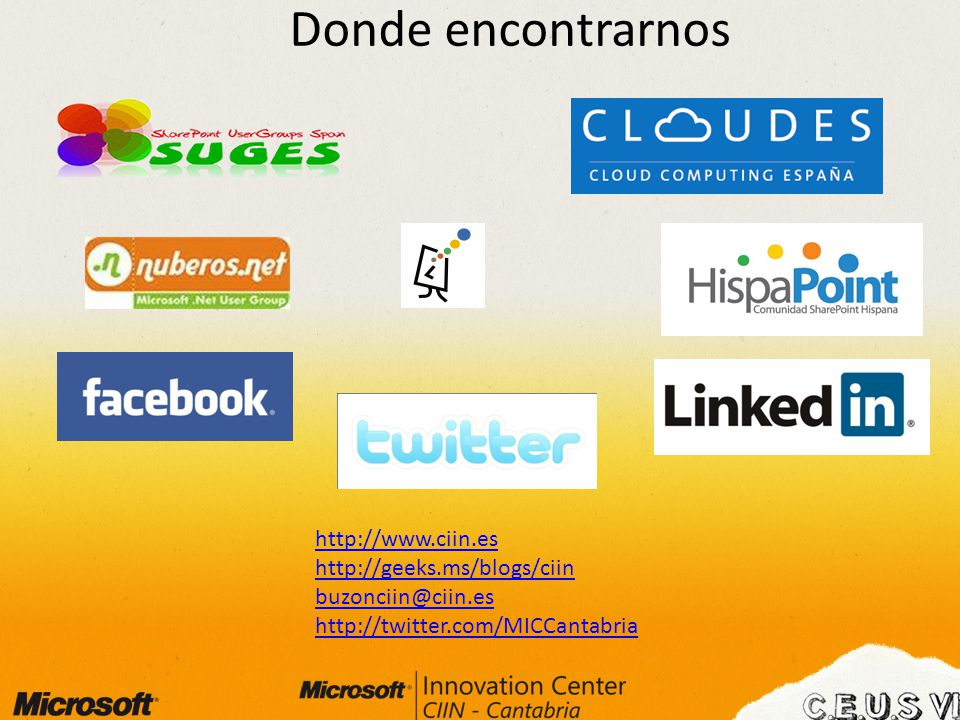 http://www.ciin.es http://geeks.ms/blogs/ciin buzonciin@ciin.es http://twitter.com/MICCantabria Donde encontrarnos