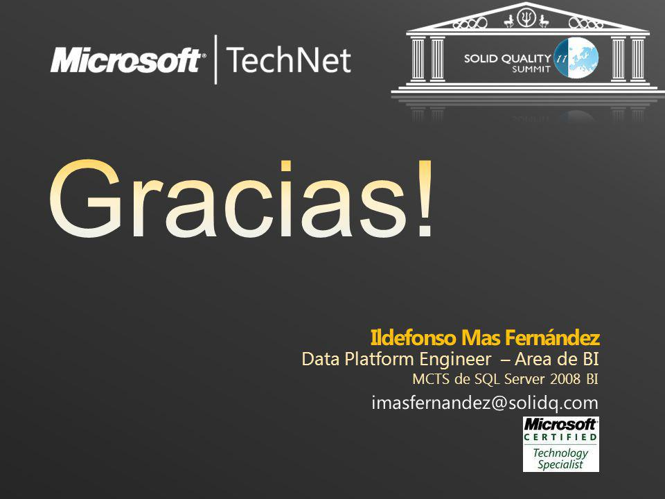 Ildefonso Mas Fernández Data Platform Engineer – Area de BI MCTS de SQL Server 2008 BI