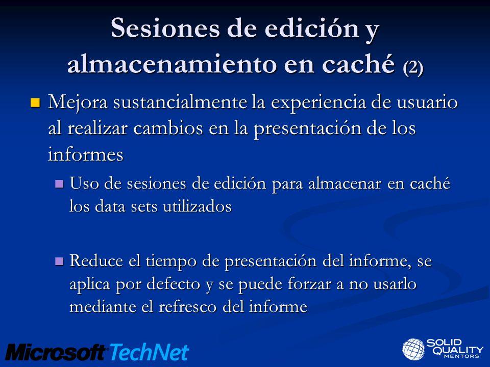 Sesiones de edición y almacenamiento en caché (2) Mejora sustancialmente la experiencia de usuario al realizar cambios en la presentación de los infor