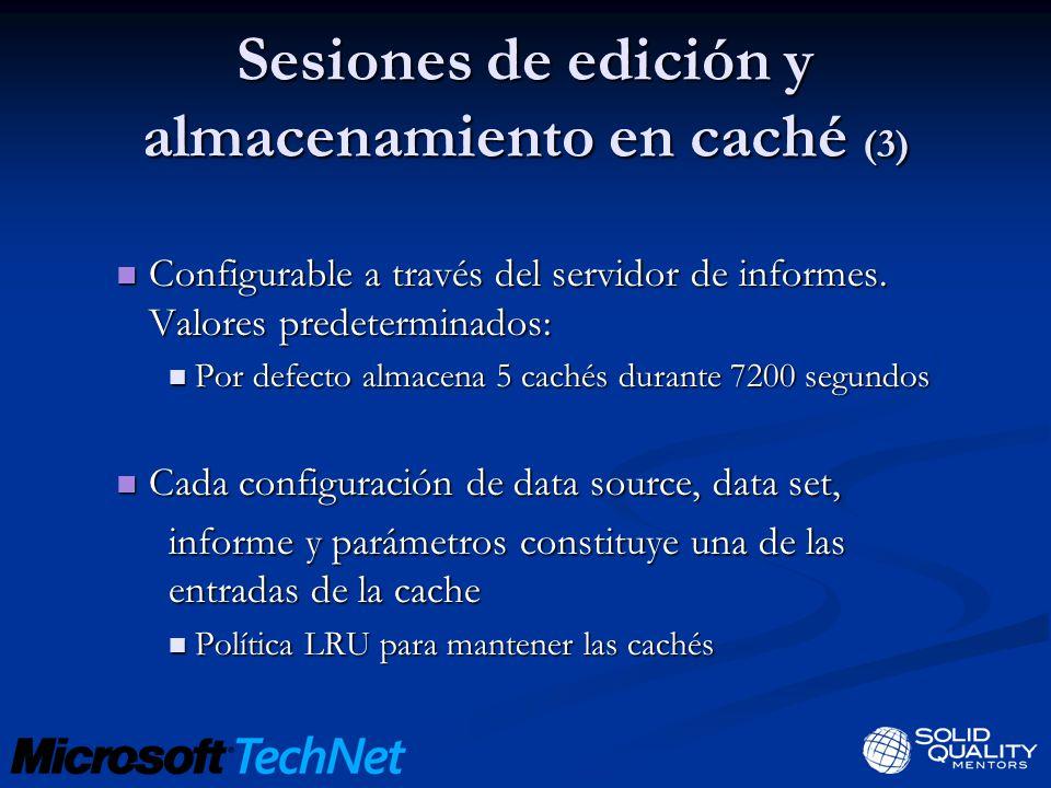 Sesiones de edición y almacenamiento en caché (3) Configurable a través del servidor de informes. Valores predeterminados: Configurable a través del s