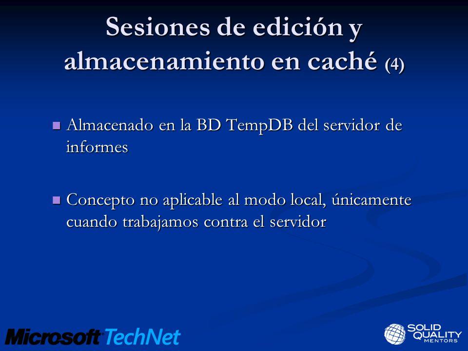Sesiones de edición y almacenamiento en caché (4) Almacenado en la BD TempDB del servidor de informes Almacenado en la BD TempDB del servidor de infor