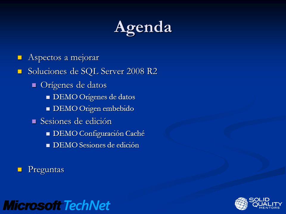 Agenda Aspectos a mejorar Aspectos a mejorar Soluciones de SQL Server 2008 R2 Soluciones de SQL Server 2008 R2 Orígenes de datos Orígenes de datos DEM