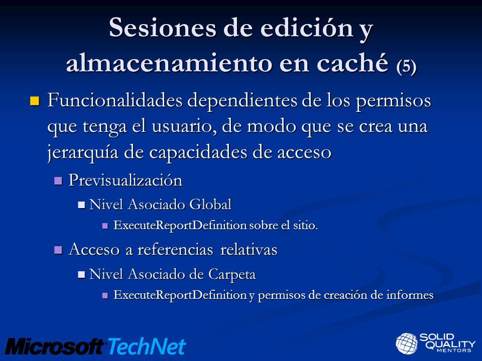 Sesiones de edición y almacenamiento en caché (5) Funcionalidades dependientes de los permisos que tenga el usuario, de modo que se crea una jerarquía
