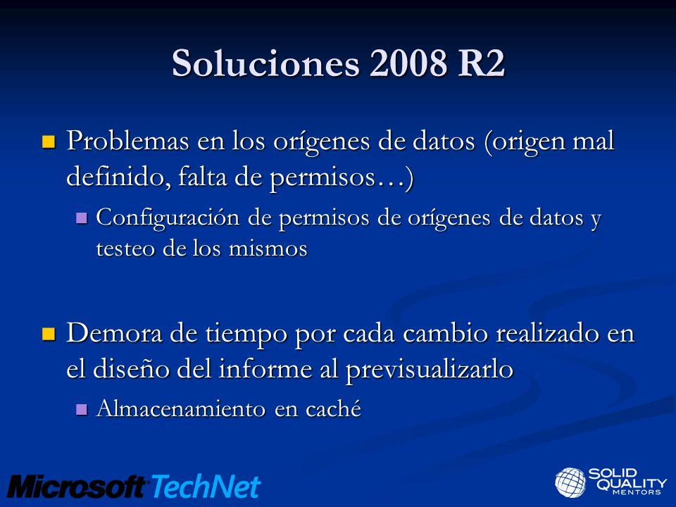 Soluciones 2008 R2 Problemas en los orígenes de datos (origen mal definido, falta de permisos…) Problemas en los orígenes de datos (origen mal definid