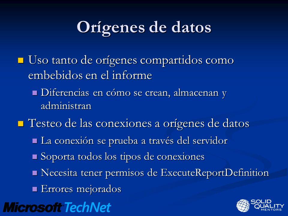 Orígenes de datos Uso tanto de orígenes compartidos como embebidos en el informe Uso tanto de orígenes compartidos como embebidos en el informe Difere