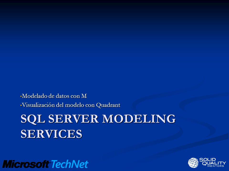 SQL SERVER MODELING SERVICES Modelado de datos con M Modelado de datos con M Visualización del modelo con Quadrant Visualización del modelo con Quadrant