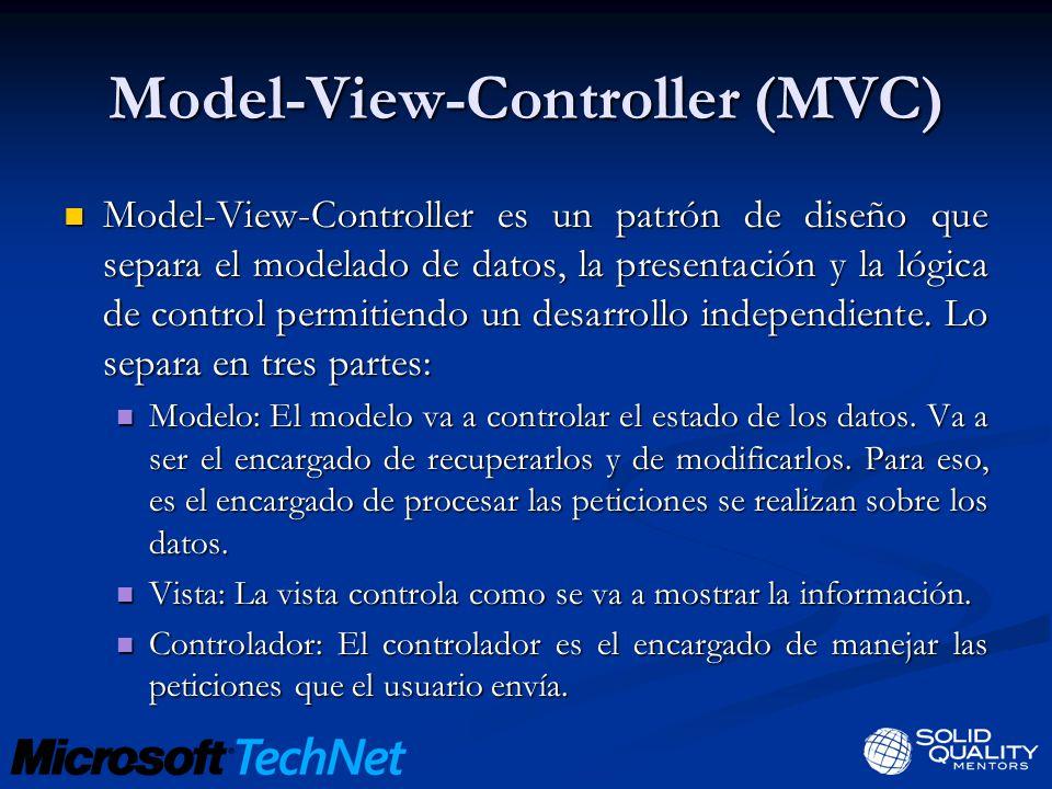 Model-View-Controller (MVC) Model-View-Controller es un patrón de diseño que separa el modelado de datos, la presentación y la lógica de control permitiendo un desarrollo independiente.