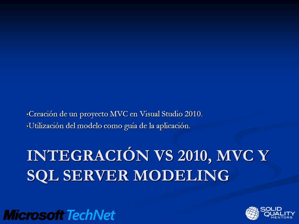 INTEGRACIÓN VS 2010, MVC Y SQL SERVER MODELING Creación de un proyecto MVC en Visual Studio 2010.