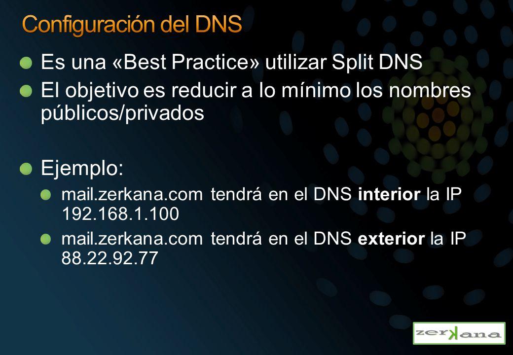 Es una «Best Practice» utilizar Split DNS El objetivo es reducir a lo mínimo los nombres públicos/privados Ejemplo: mail.zerkana.com tendrá en el DNS interior la IP 192.168.1.100 mail.zerkana.com tendrá en el DNS exterior la IP 88.22.92.77
