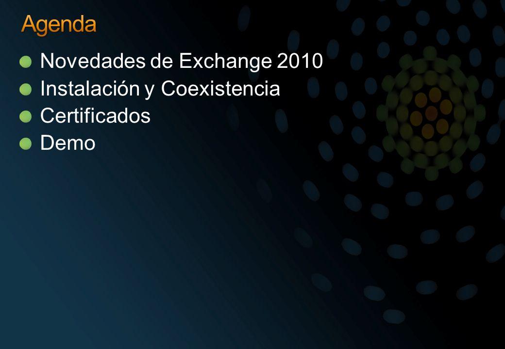 Instalar el rol Hub, configurar los conectores de recepción y de envío Crear los dominios aceptados Si necesario, instalar y configurar Rol Edge en nuevo servidor en DMZ Transferir el flujo de salida y entrada hacia el nuevo Hub/Edge Instalar el rol Mailbox, crear bases de datos y configurarlas Crear réplicas de las carpetas publicas PFmigrate.wsf script AddReplicaToPFRecursive.ps1 Exchange 2010 Public Folder tool Mover buzones utilizando la consola 2010 o a través de Powershell Rehome de la Offline Address Book (OAB) hacia Exchange 2010 y configurarla para la publicación HTTP Rehome del árbol de las carpetas publicas hacia el nuevo Administrative Group de Exchange 2010 (arrastrarlo desde la consola 2003) Actualizar las Address List y E-mail Policy