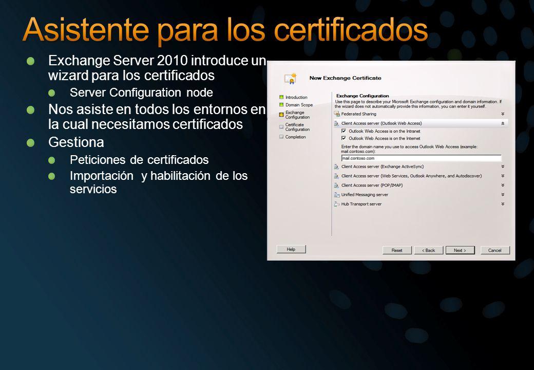 Exchange Server 2010 introduce un wizard para los certificados Server Configuration node Nos asiste en todos los entornos en la cual necesitamos certi