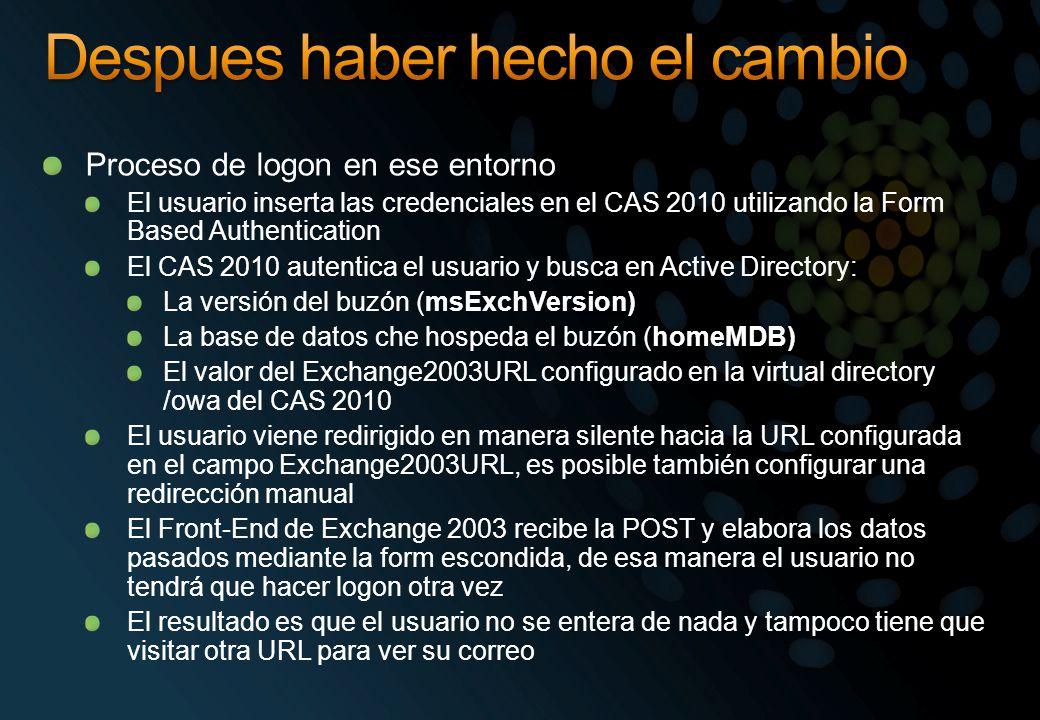 Proceso de logon en ese entorno El usuario inserta las credenciales en el CAS 2010 utilizando la Form Based Authentication El CAS 2010 autentica el usuario y busca en Active Directory: La versión del buzón (msExchVersion) La base de datos che hospeda el buzón (homeMDB) El valor del Exchange2003URL configurado en la virtual directory /owa del CAS 2010 El usuario viene redirigido en manera silente hacia la URL configurada en el campo Exchange2003URL, es posible también configurar una redirección manual El Front-End de Exchange 2003 recibe la POST y elabora los datos pasados mediante la form escondida, de esa manera el usuario no tendrá que hacer logon otra vez El resultado es que el usuario no se entera de nada y tampoco tiene que visitar otra URL para ver su correo