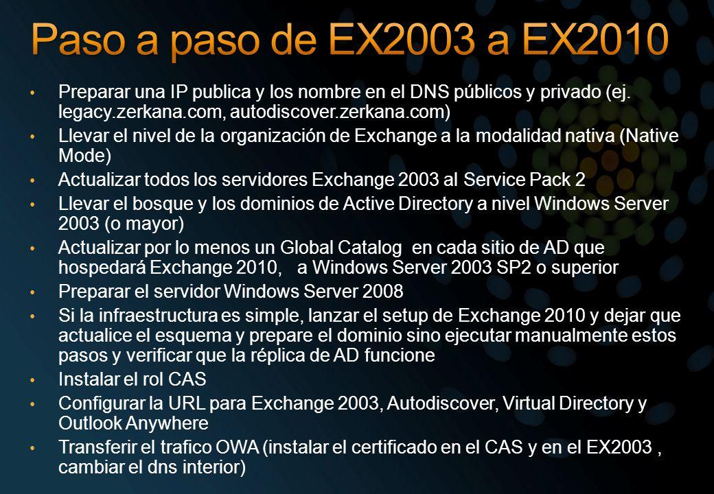 Preparar una IP publica y los nombre en el DNS públicos y privado (ej. legacy.zerkana.com, autodiscover.zerkana.com) Llevar el nivel de la organizació