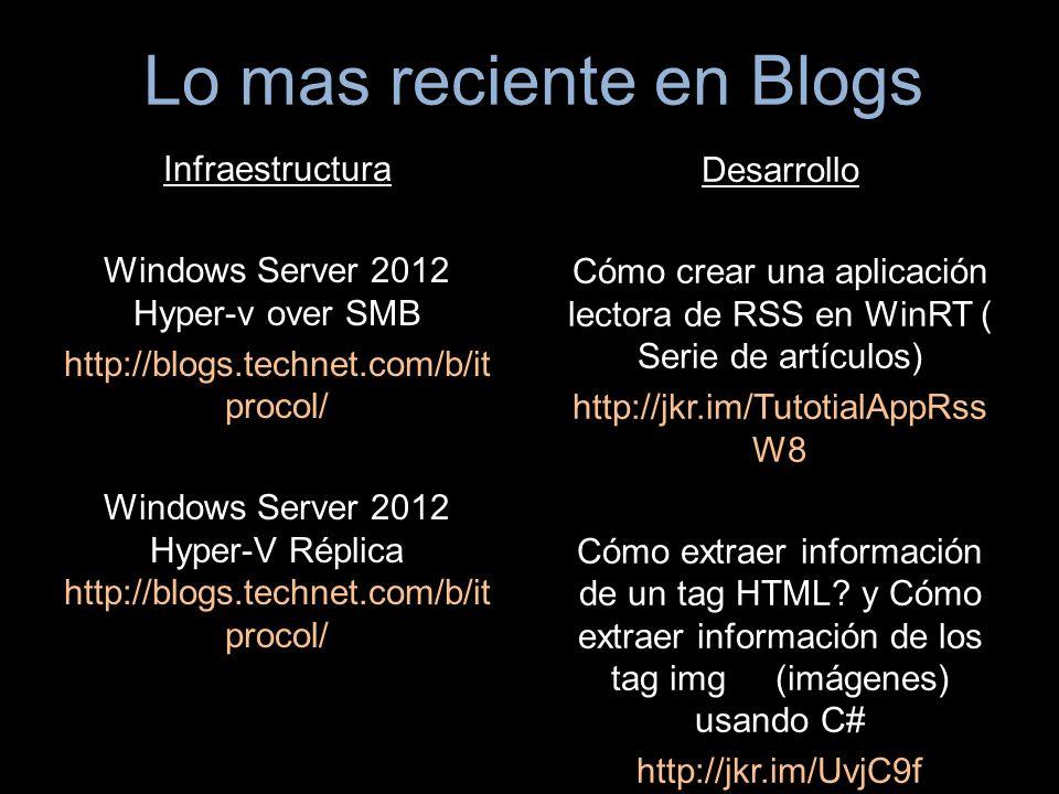 Infraestructura Windows Server 2012 Hyper-v over SMB http://blogs.technet.com/b/it procol/ Windows Server 2012 Hyper-V Réplica http://blogs.technet.com/b/it procol/ Desarrollo Cómo crear una aplicación lectora de RSS en WinRT ( Serie de artículos) http://jkr.im/TutotialAppRss W8 Cómo extraer información de un tag HTML.