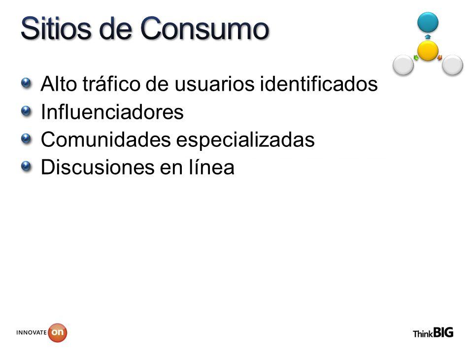 Alto tráfico de usuarios identificados Influenciadores Comunidades especializadas Discusiones en línea
