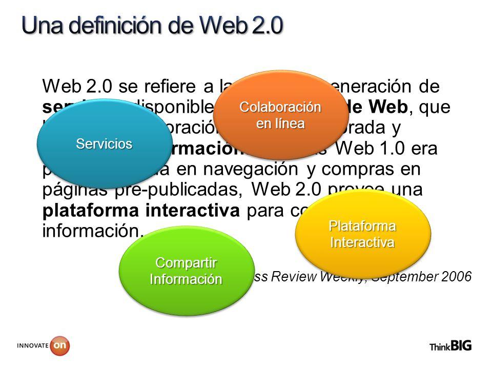 Web 2.0 se refiere a la segunda generación de servicios disponibles en World Wide Web, que habilitan colaboración en línea mejorada y compartir inform