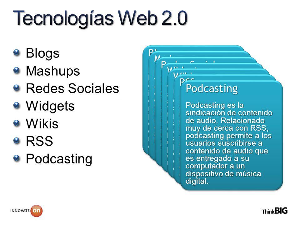 Blogs Mashups Redes Sociales Widgets Wikis RSS Podcasting Blogs Es un sitio Web en el que las entradas se muestras en orden cronológico inverso. Típic