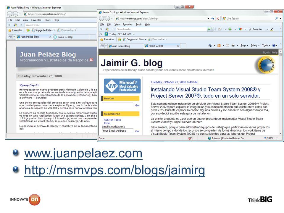 www.juanpelaez.com http://msmvps.com/blogs/jaimirg