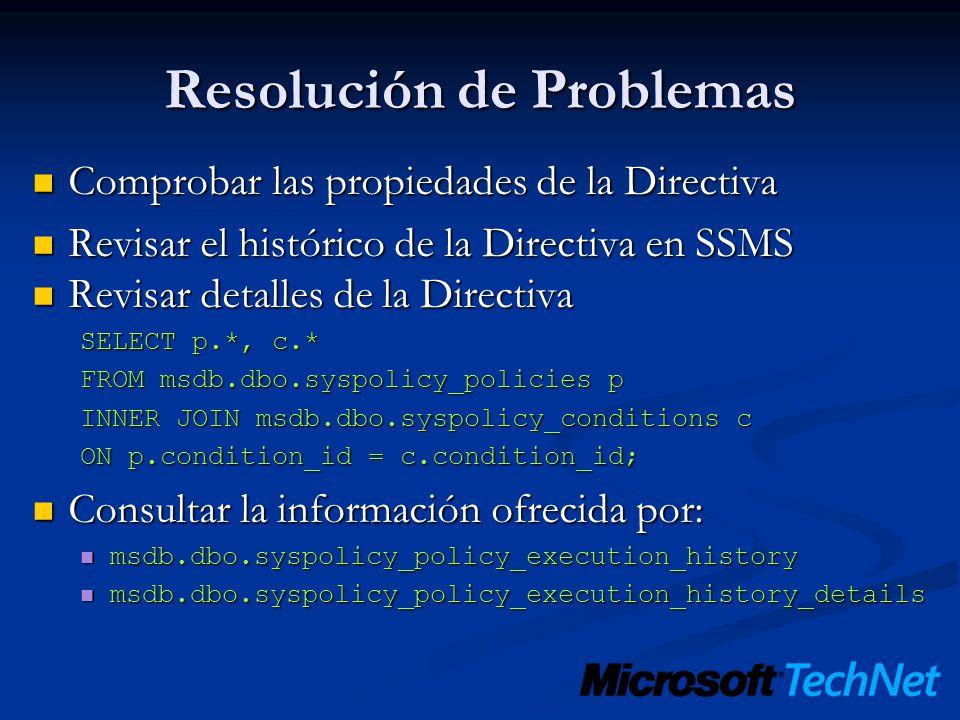 Resolución de Problemas Comprobar las propiedades de la Directiva Comprobar las propiedades de la Directiva Revisar el histórico de la Directiva en SS