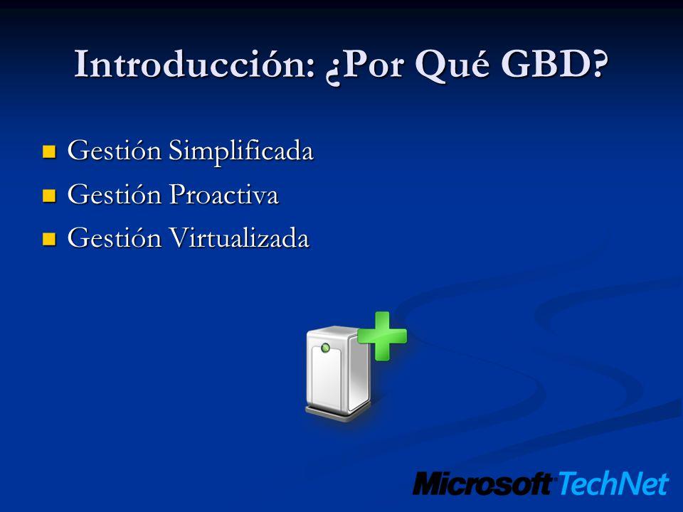 Introducción: ¿Por Qué GBD? Gestión Simplificada Gestión Simplificada Gestión Proactiva Gestión Proactiva Gestión Virtualizada Gestión Virtualizada