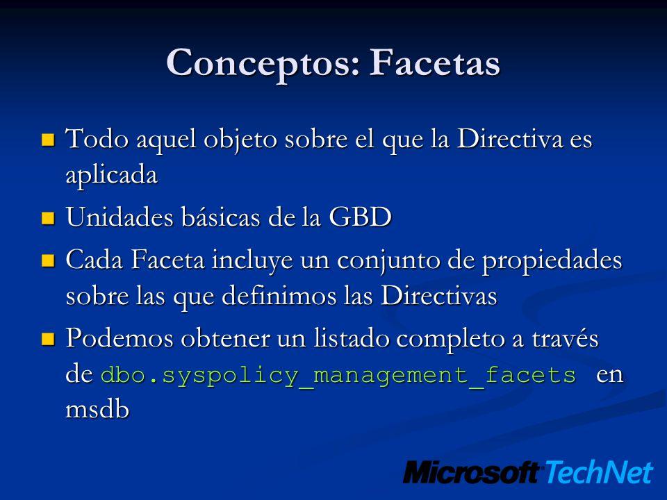 Conceptos: Facetas Todo aquel objeto sobre el que la Directiva es aplicada Todo aquel objeto sobre el que la Directiva es aplicada Unidades básicas de