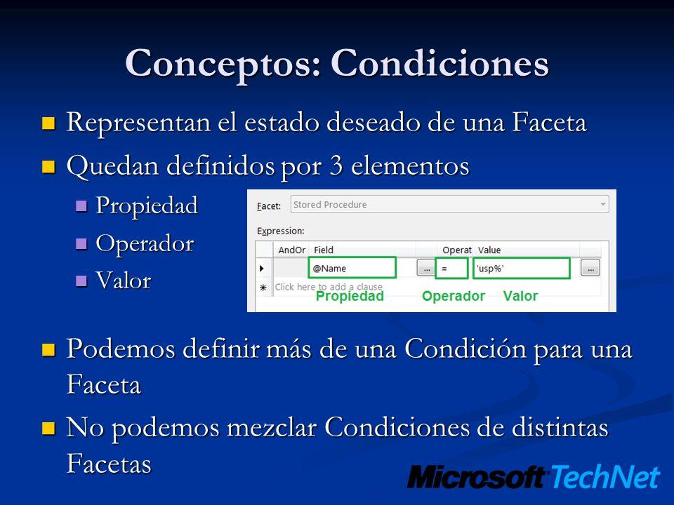 Conceptos: Condiciones Representan el estado deseado de una Faceta Representan el estado deseado de una Faceta Quedan definidos por 3 elementos Quedan