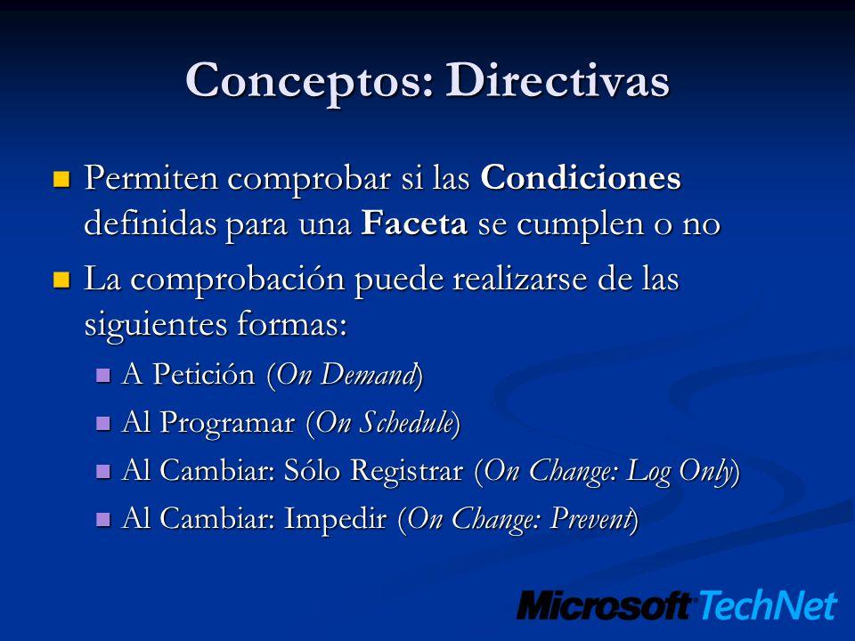 Conceptos: Directivas Permiten comprobar si las Condiciones definidas para una Faceta se cumplen o no Permiten comprobar si las Condiciones definidas