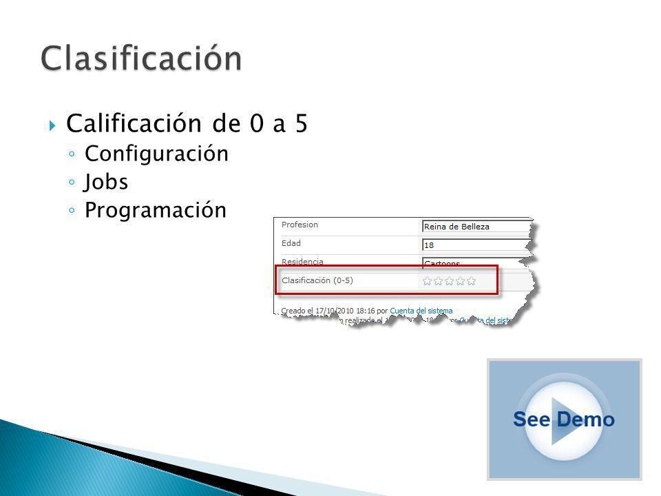 Calificación de 0 a 5 Configuración Jobs Programación