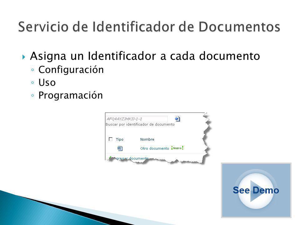 Asigna un Identificador a cada documento Configuración Uso Programación