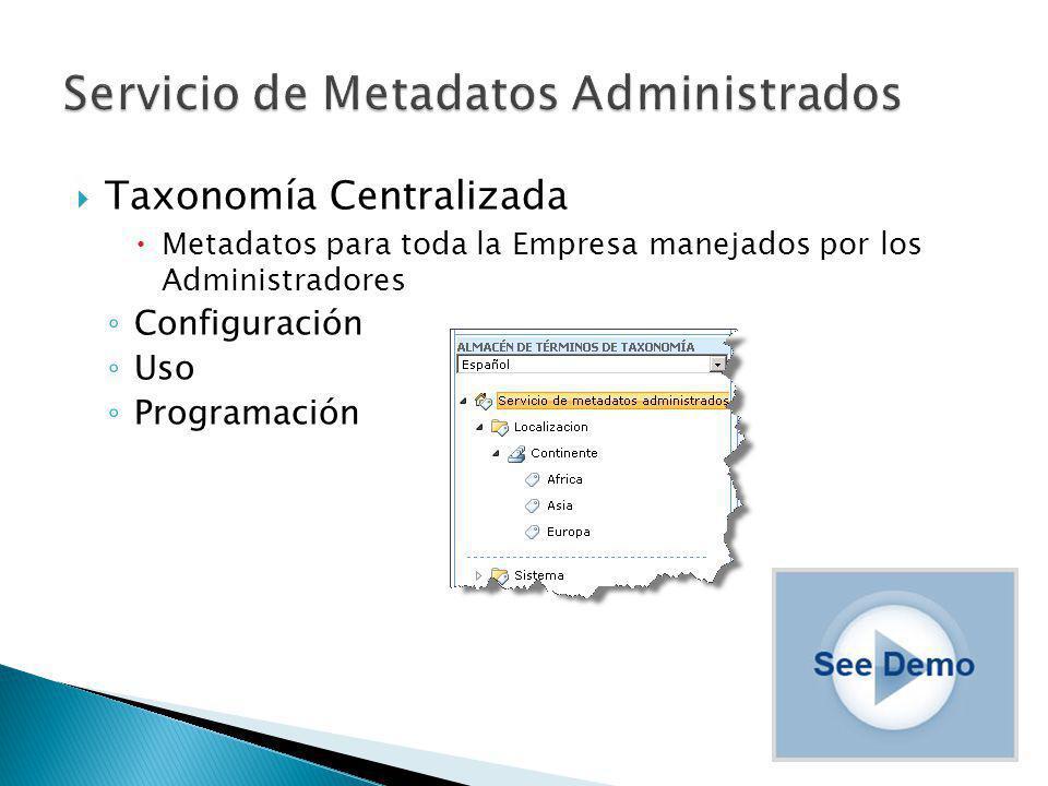 Taxonomía Centralizada Metadatos para toda la Empresa manejados por los Administradores Configuración Uso Programación