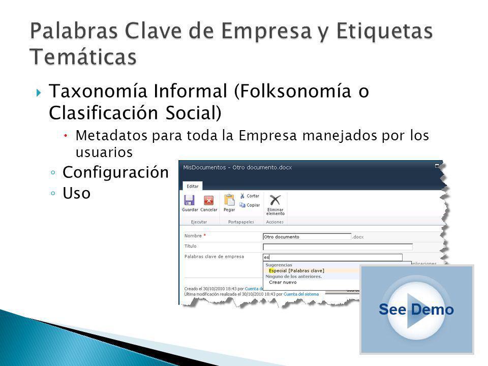 Taxonomía Informal (Folksonomía o Clasificación Social) Metadatos para toda la Empresa manejados por los usuarios Configuración Uso