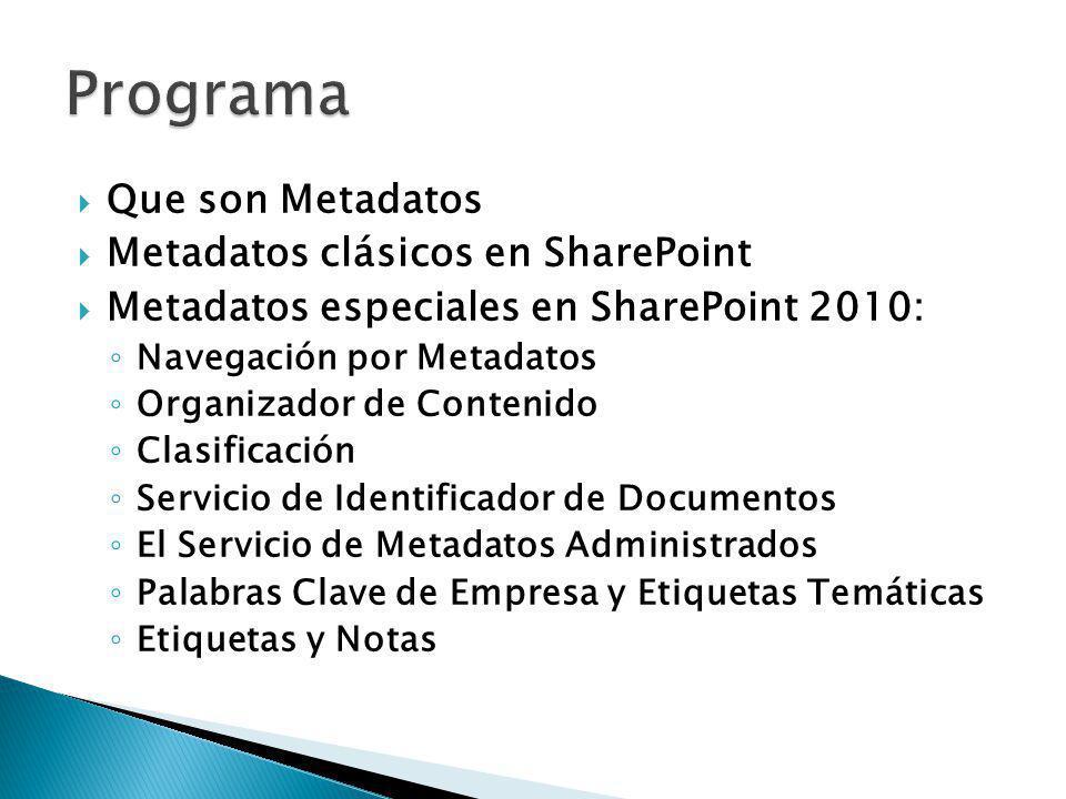 Que son Metadatos Metadatos clásicos en SharePoint Metadatos especiales en SharePoint 2010: Navegación por Metadatos Organizador de Contenido Clasific
