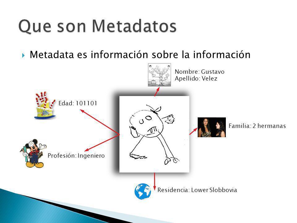 Metadata es información sobre la información Nombre: Gustavo Apellido: Velez Familia: 2 hermanas Profesión: Ingeniero Edad: 101101 Residencia: Lower Slobbovia