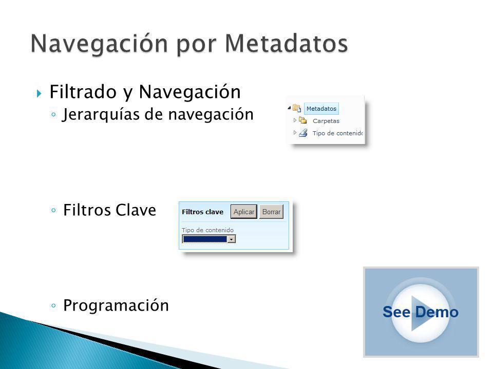 Filtrado y Navegación Jerarquías de navegación Filtros Clave Programación